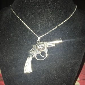 Sexy Silver Iced Out Pistol Pendant Necklace